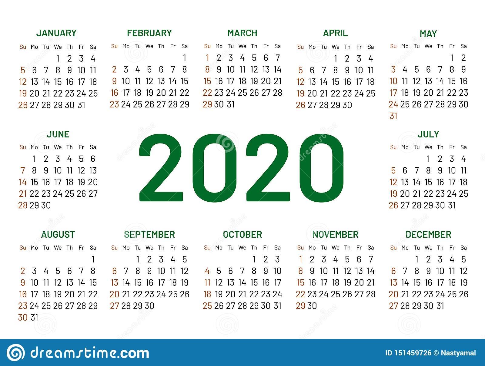 Pocket Calendar 2020 Year Stock Vector. Illustration Of Data