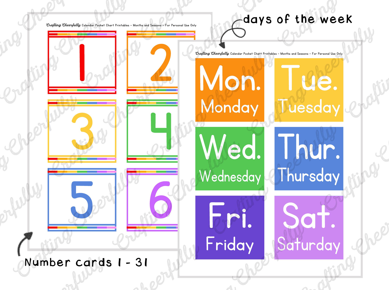 Pocket Chart Children's Calendar, Pocket Chart Cards, School