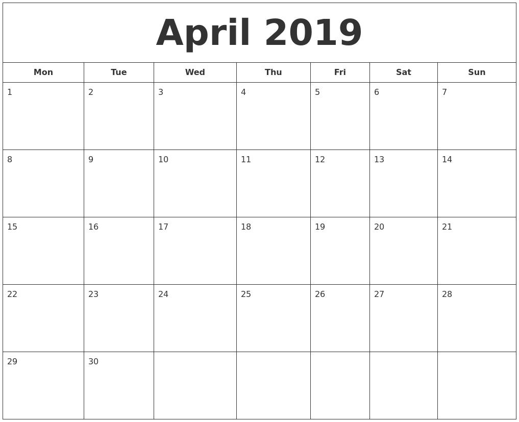 Posh Print A Calendar 2019 : Mini Calendar Template