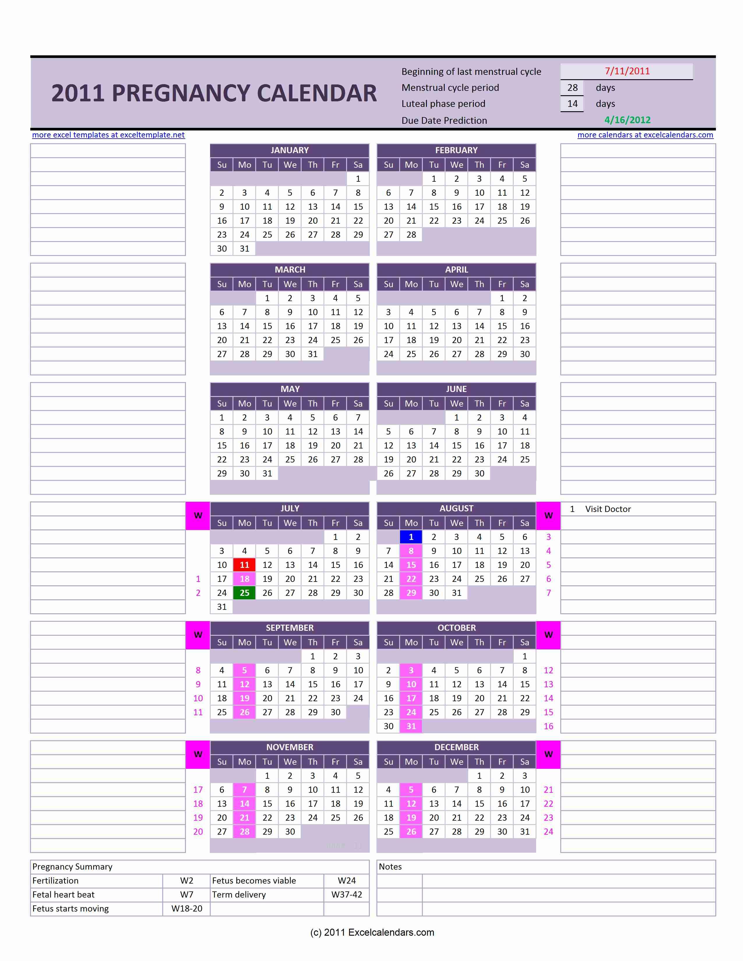 Pregnancyweeks Calendar - Wpa.wpart.co