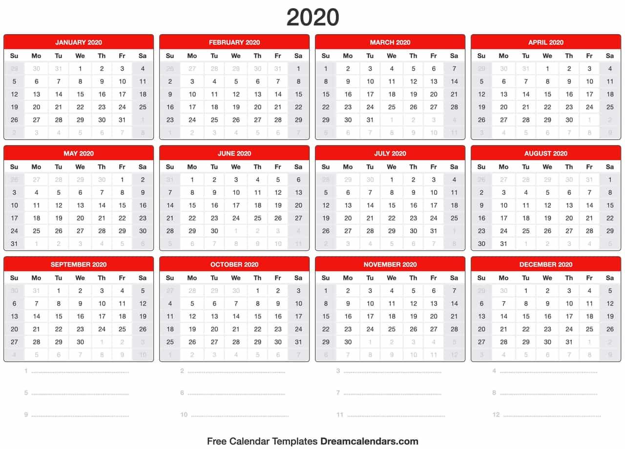 Print 2020 Year Calendar - Wpa.wpart.co