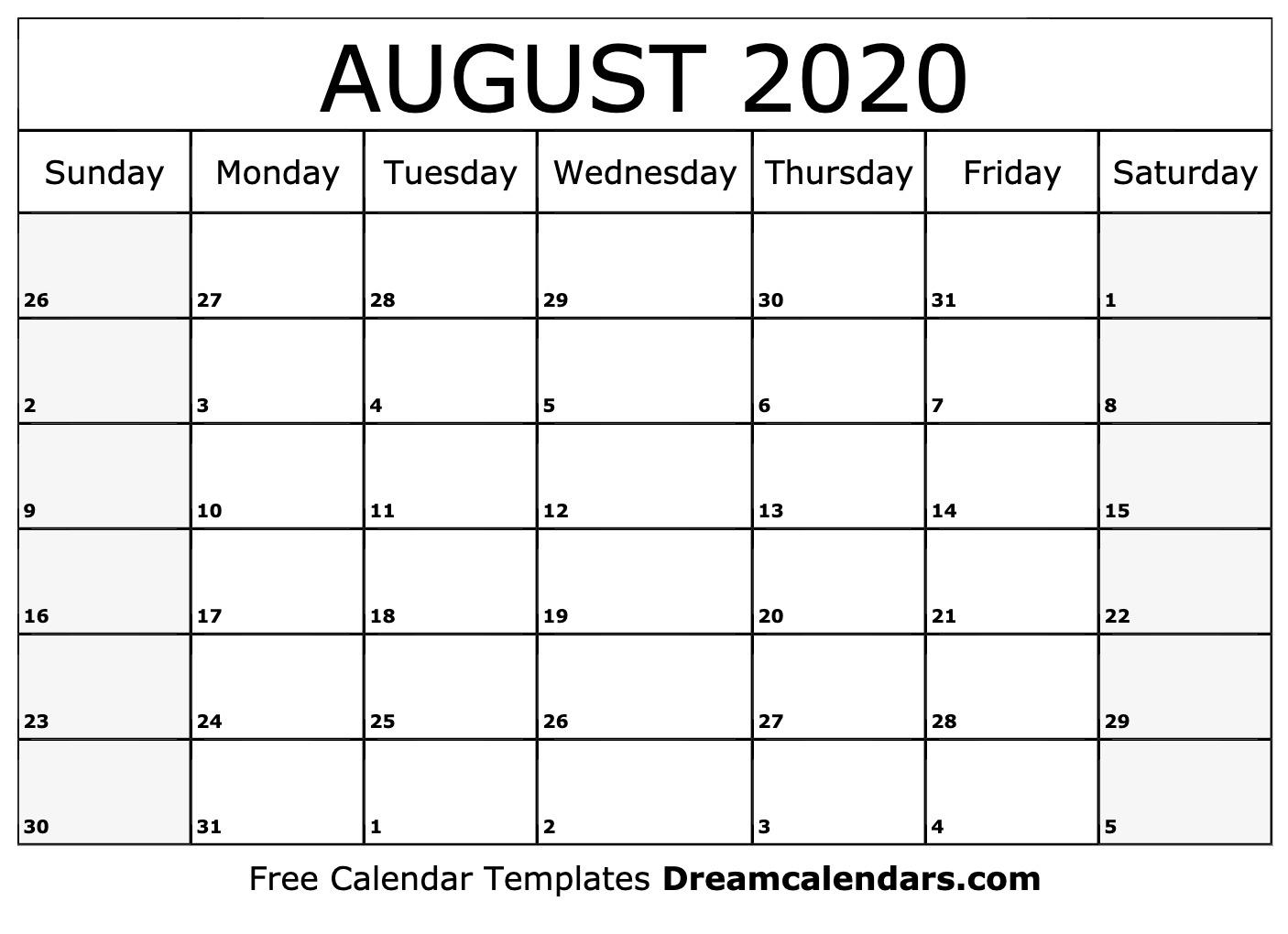 Print A Calendar August 2020 - Wpa.wpart.co