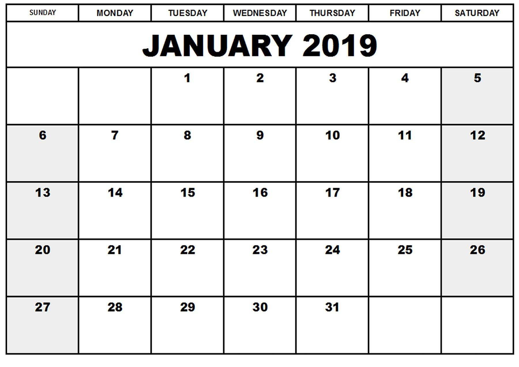 Print Blank Calendar 2019 Inspirational Blank Printable