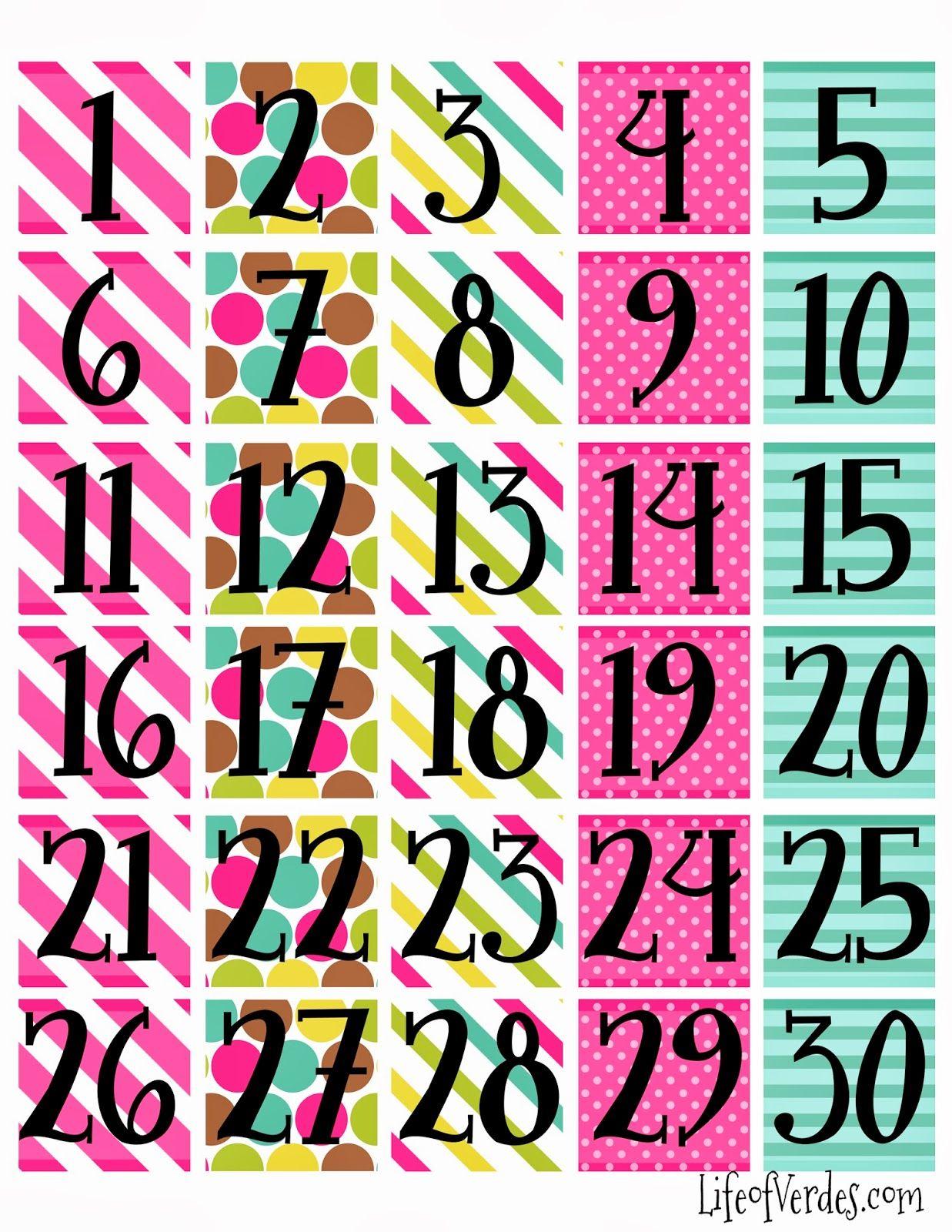 Print Calendar Numbers Free  | Calendar Numbers, Free