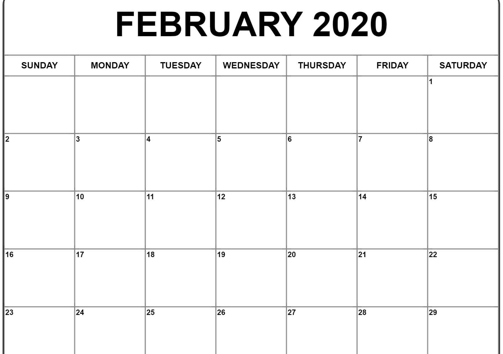 Print February 2020 Calendar - Wpa.wpart.co