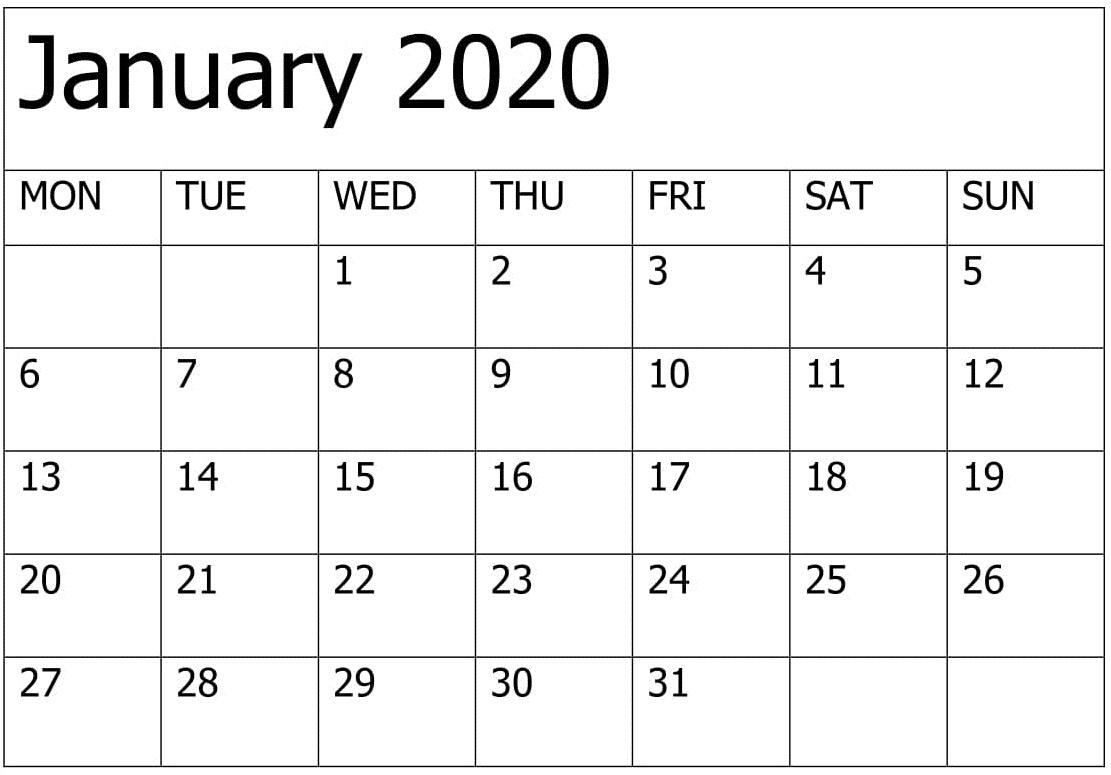 Print January 2020 Calendar Template   12 Month Printable