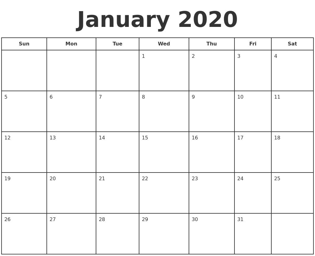 Print January 2020 Calendar - Wpa.wpart.co