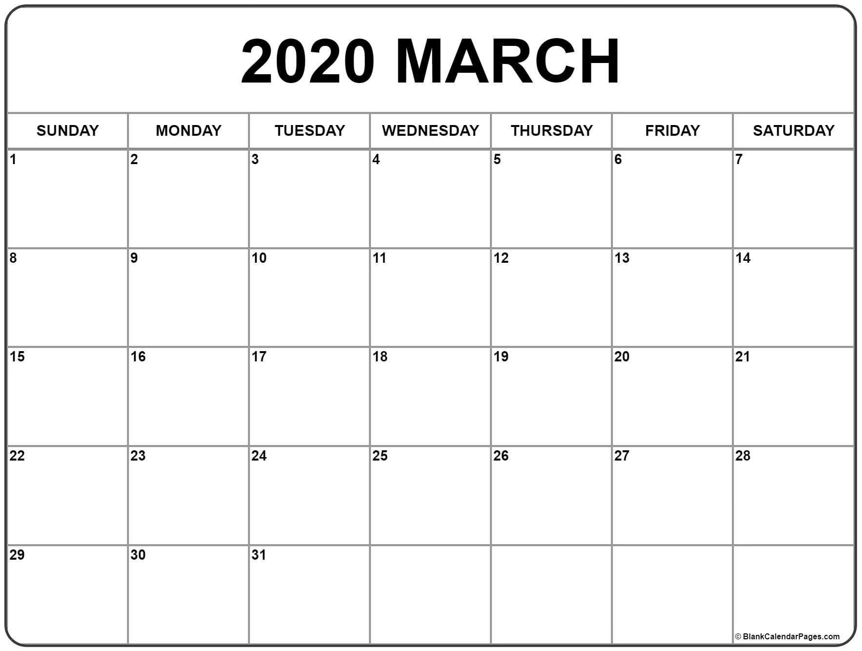 Print March 2020 Calendar Blank | Blank Calendar Pages
