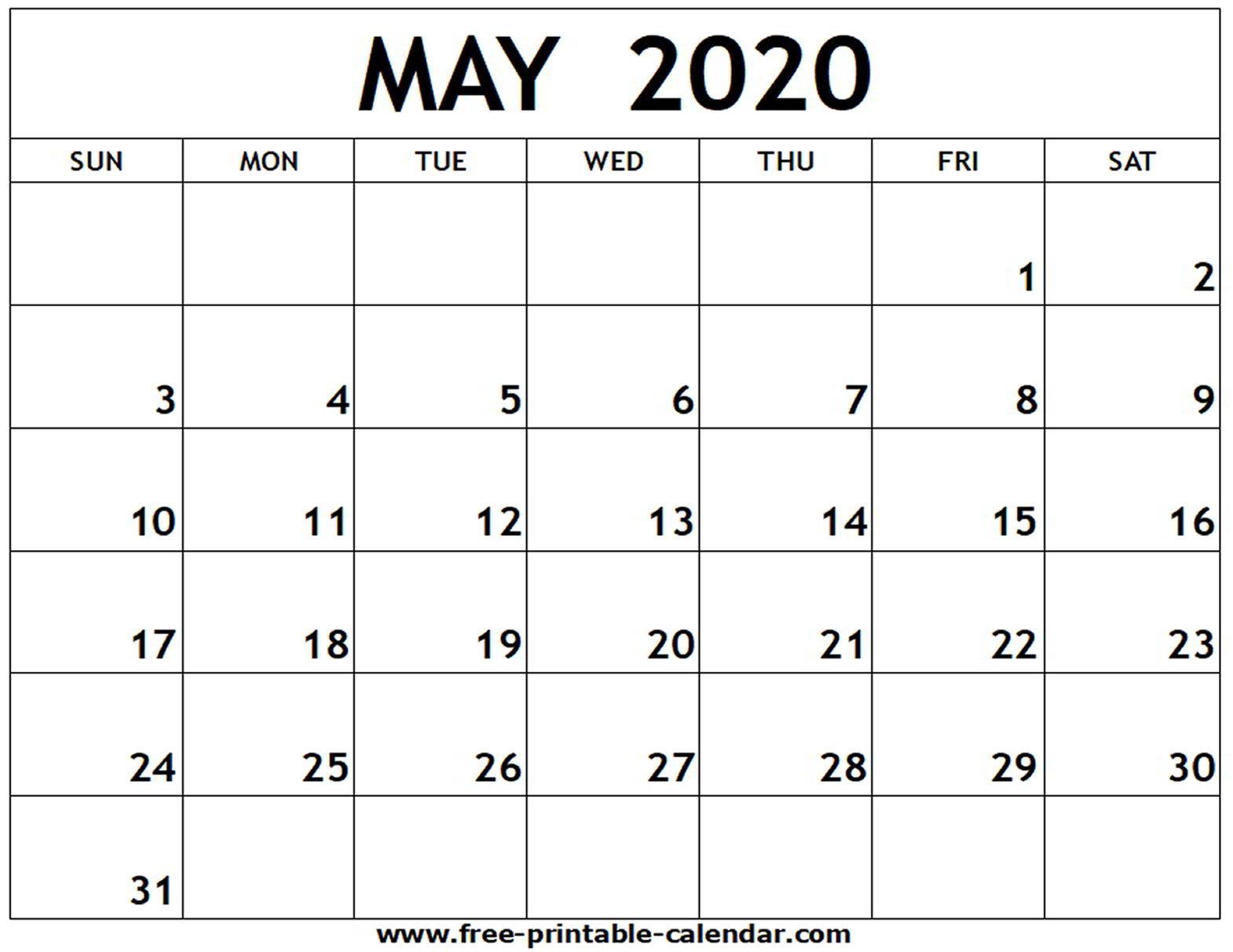 Print May Calendar 2020 - Wpa.wpart.co