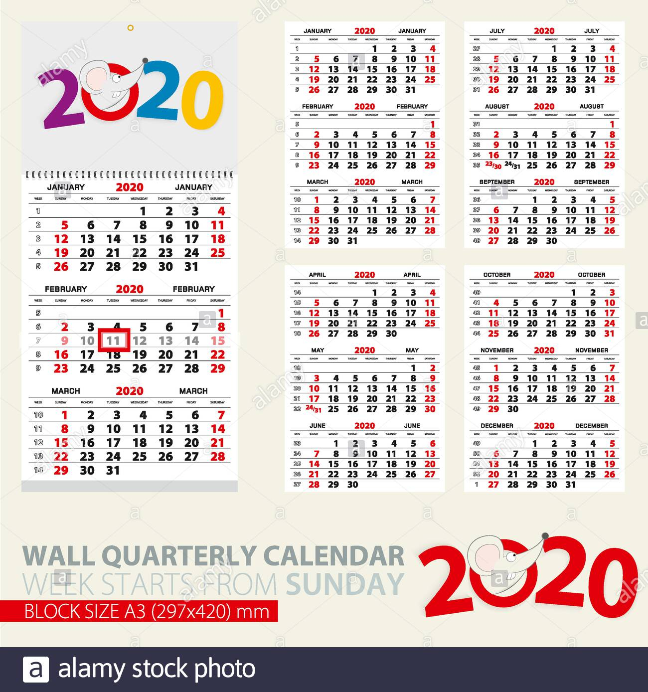Print Template Of Wall Quarterly Calendar For 2020 Year