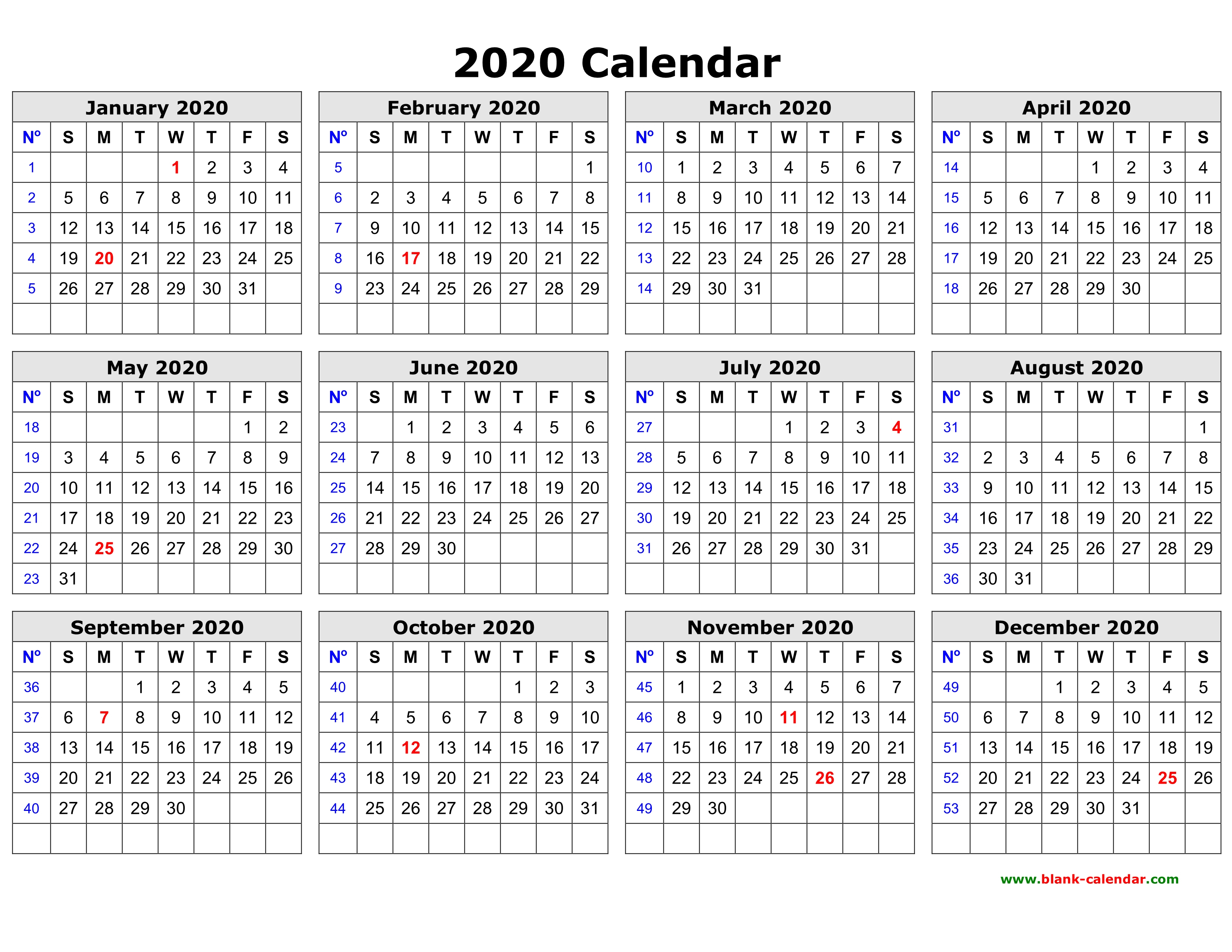 Print Yearly Calendar 2020 - Wpa.wpart.co