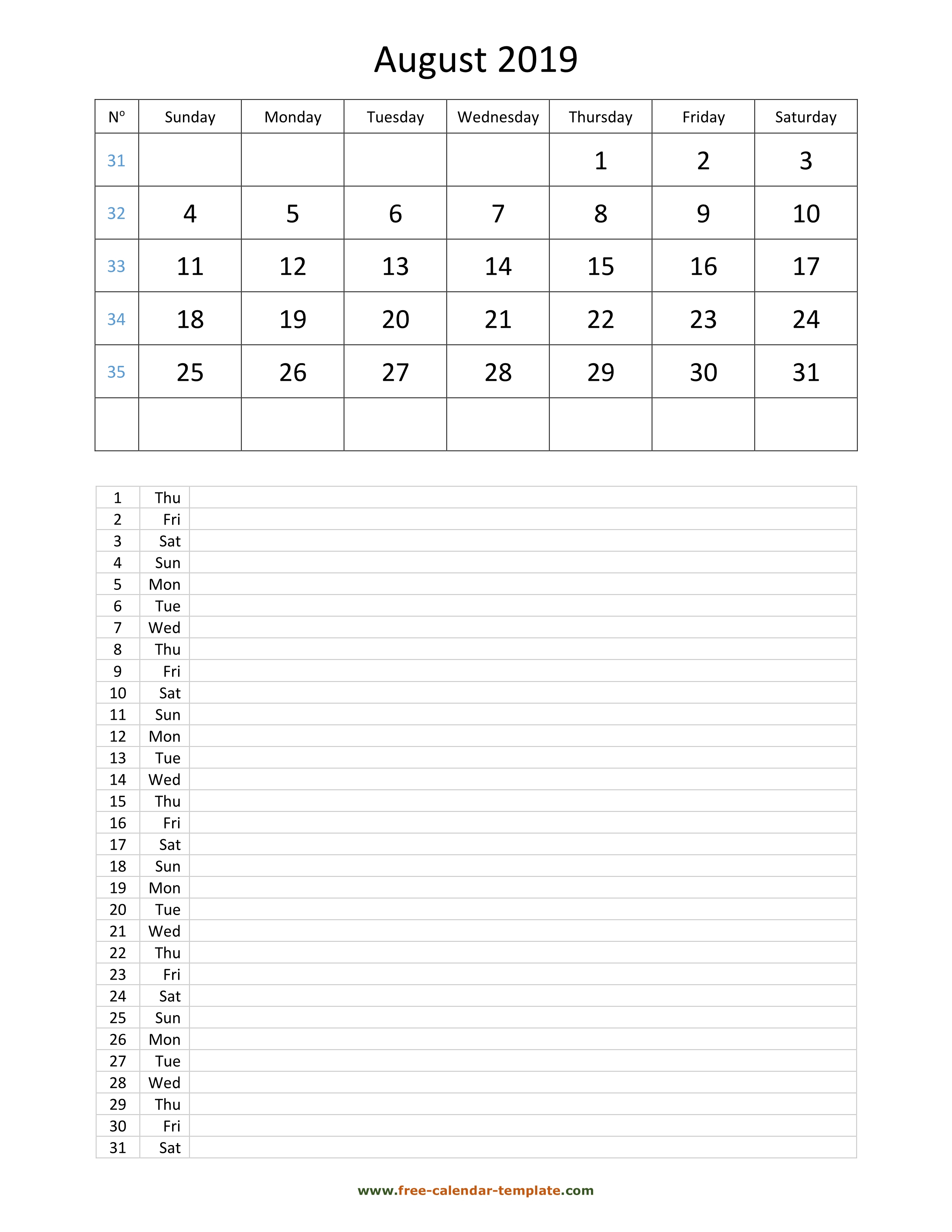 Printable 2019 August Calendar Grid Lines For Daily Notes