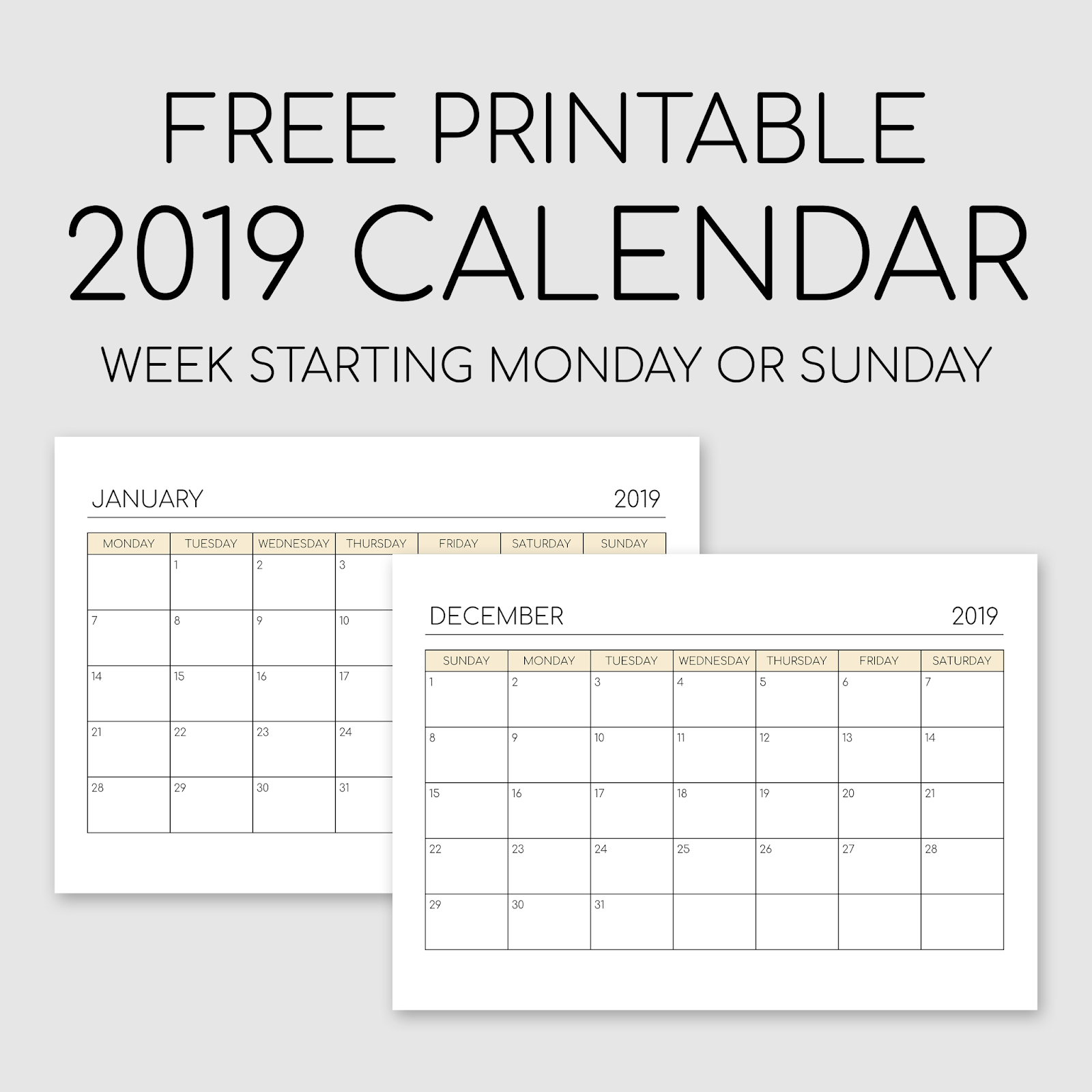 Printable 2019 Calendar - Landscape Orientation