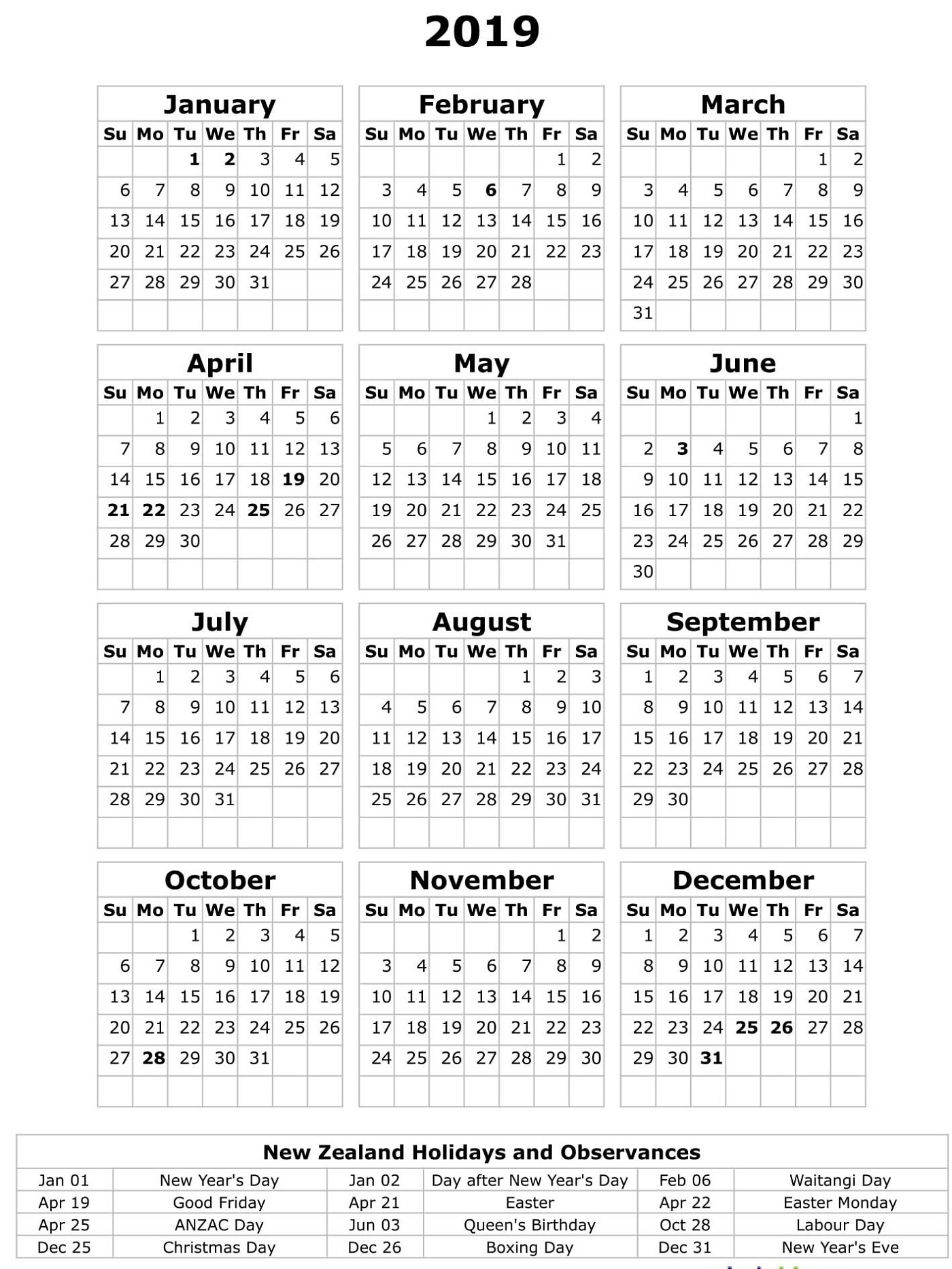 Printable 2019 Calendar With Holidays | Calendar Shelter