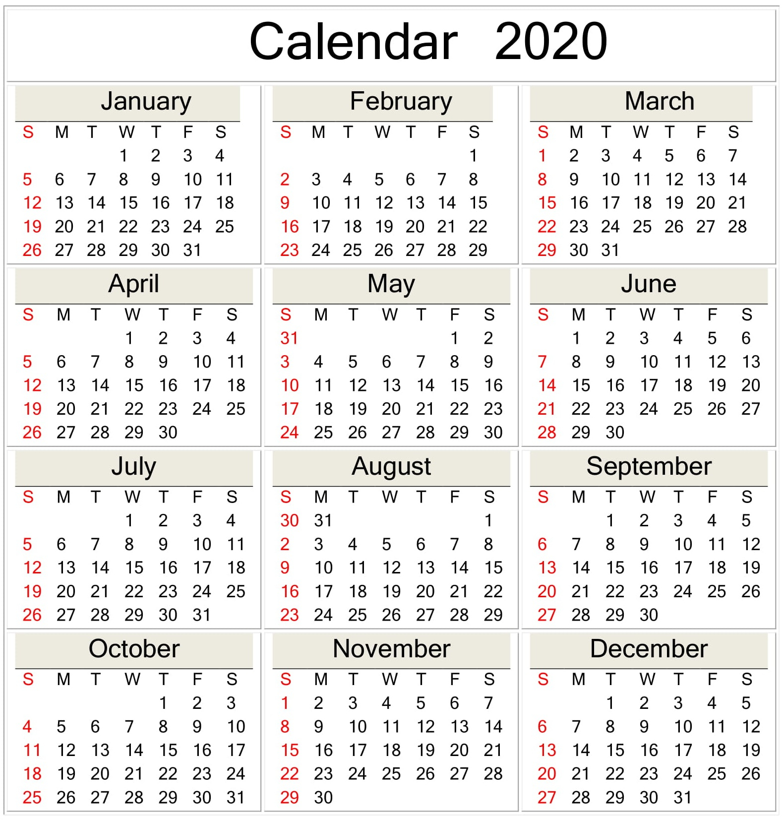 Printable 2020 Calendar Online Download – Free Latest