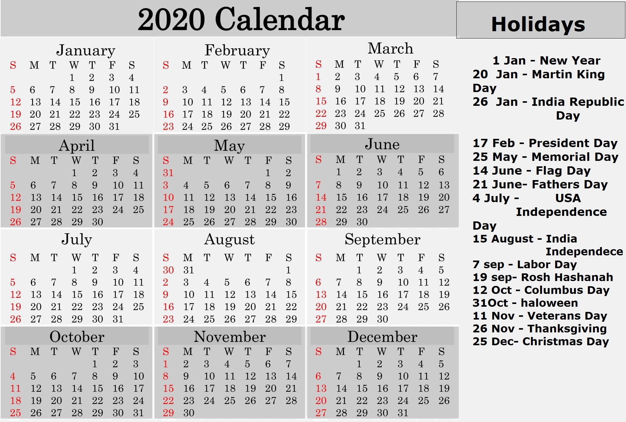 Printable 2020 Calendar With Holidays National