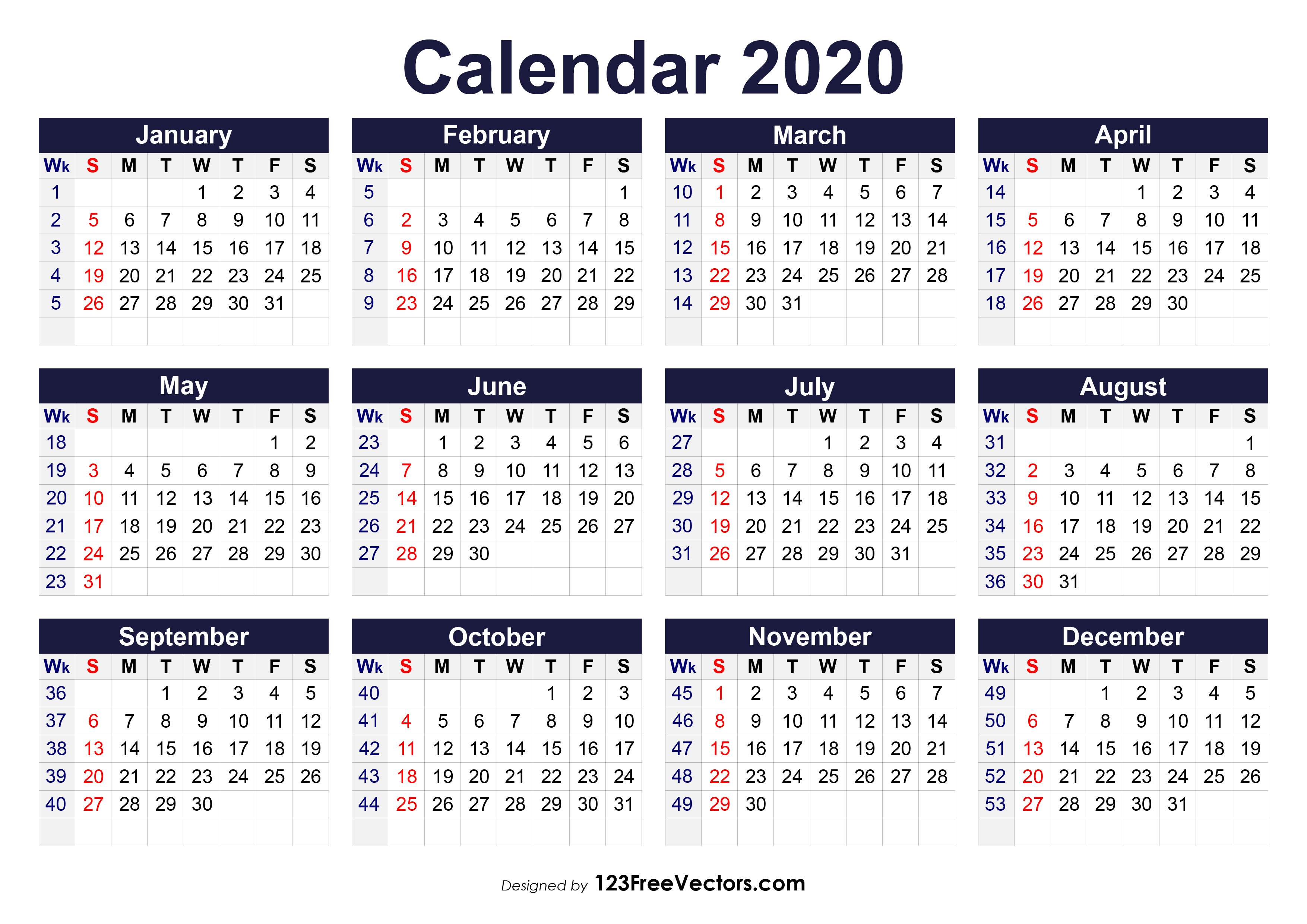 Printable 2020 Calendar With Week Numbers