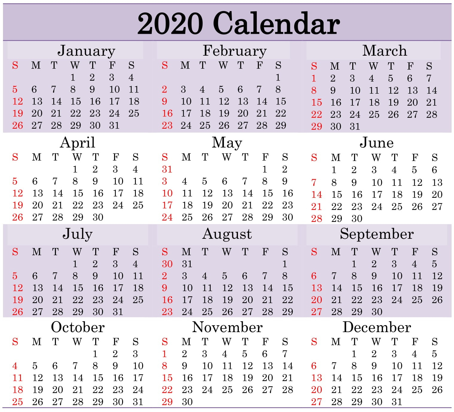 Printable 2020 Calendar Word Document - Latest Printable