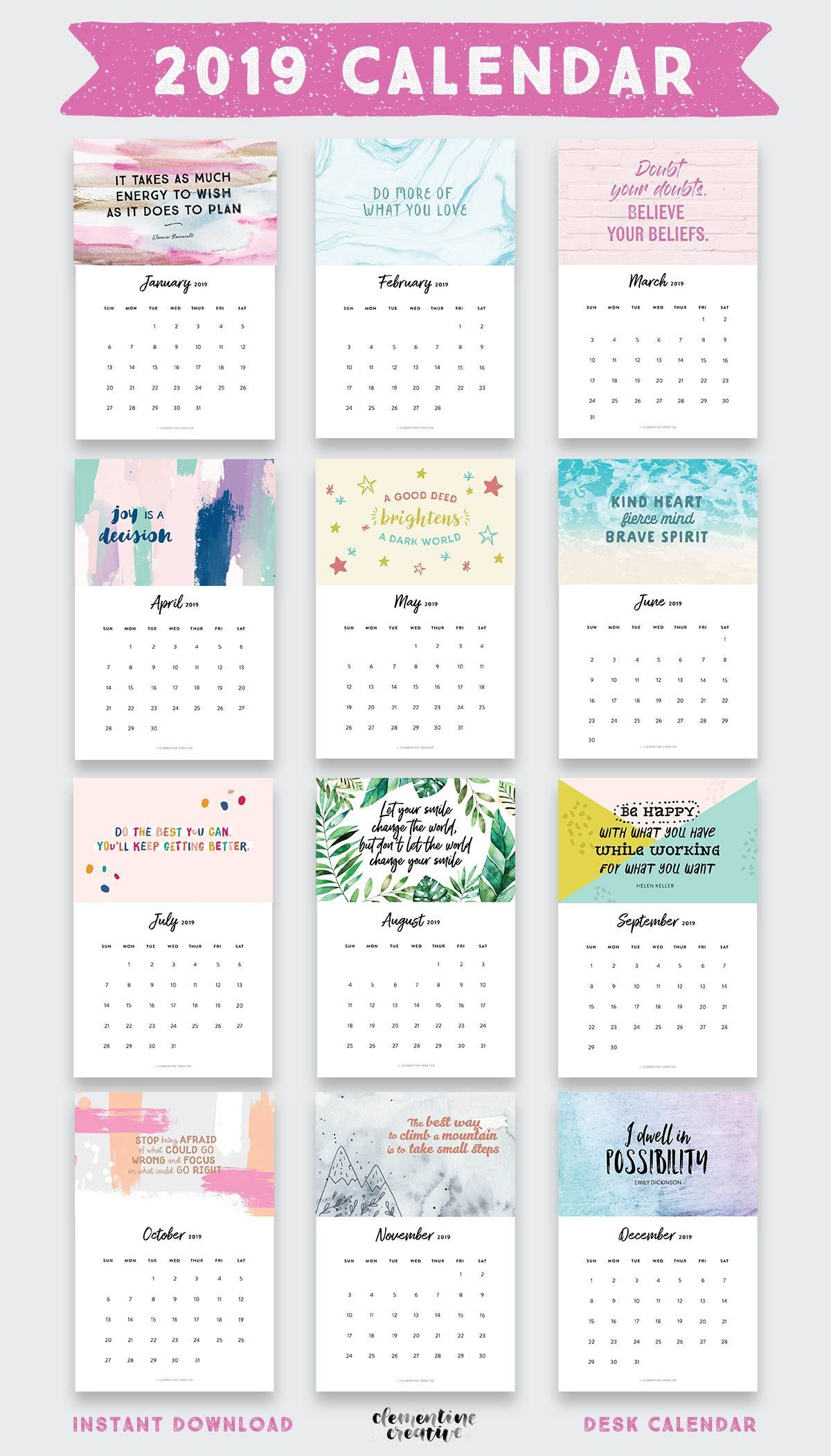 Printable 2020 Inspirational Quotes Calendar (+ Free Bonus