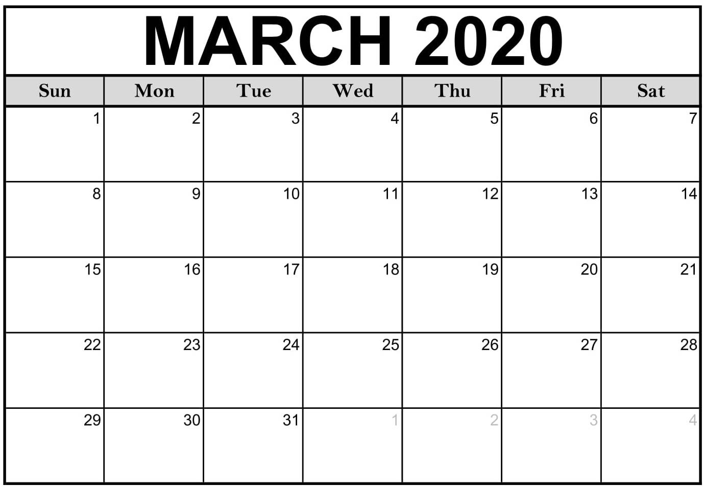 Printable 2020 March Calendar Pdf With Notes - Set Your Plan