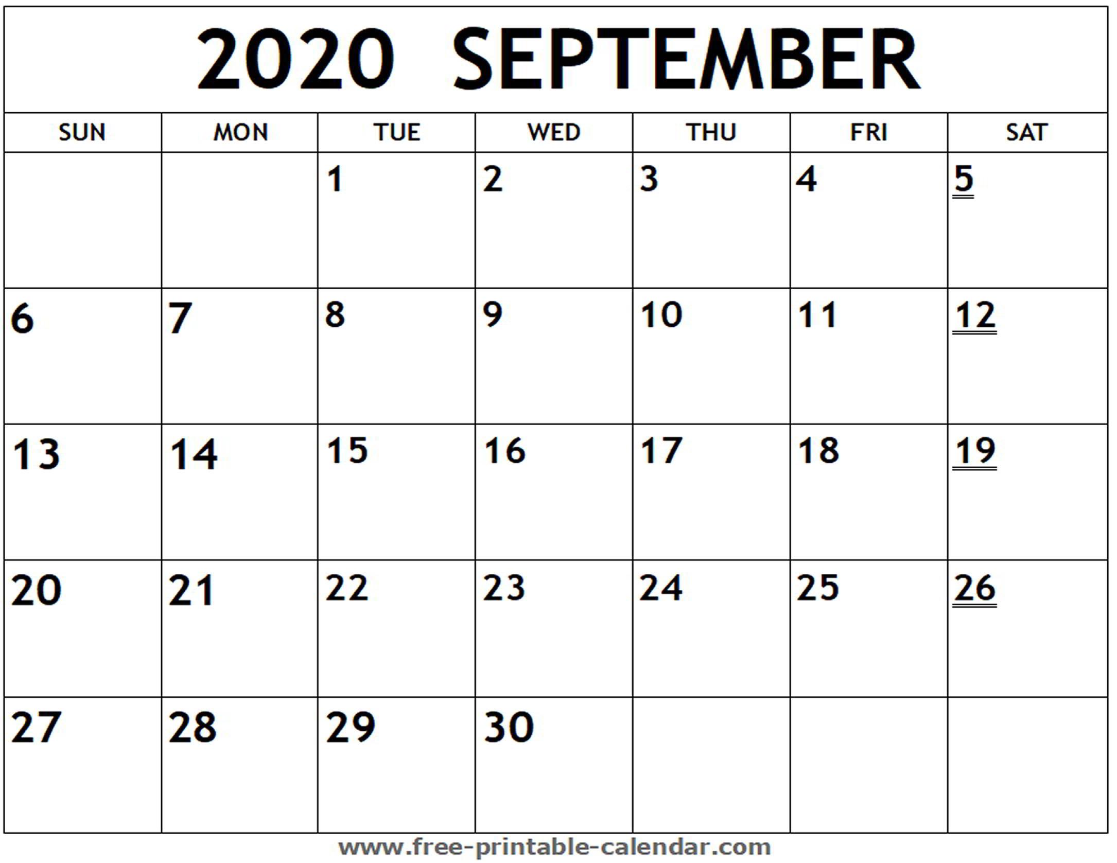 Printable 2020 September Calendar - Free-Printable-Calendar