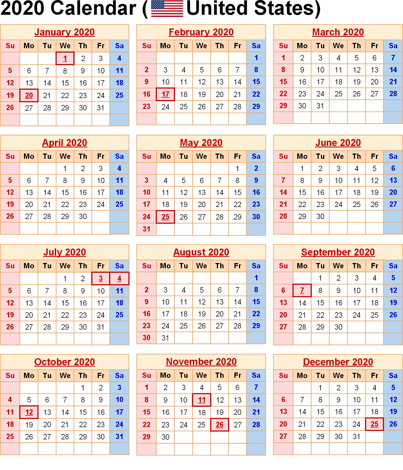 Printable 2020 Yearly Calendar 12 Months | Calendar Shelter
