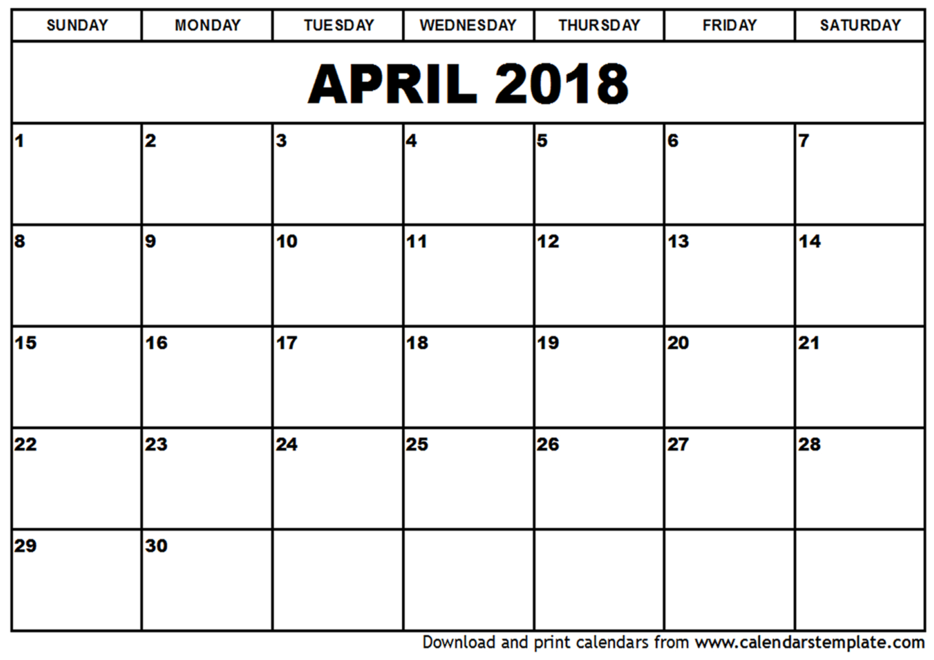 Printable April 2018 Calendar Holidays - Free Printable