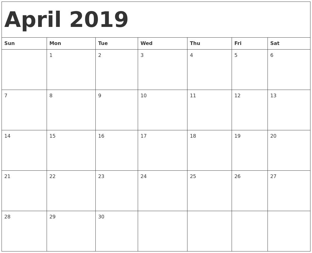 Printable April 2019 Calendar New Zealand | Blank Calendar