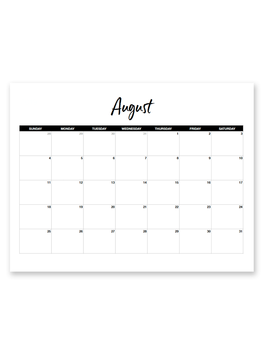 Printable August 2019 Calendar (Minimal