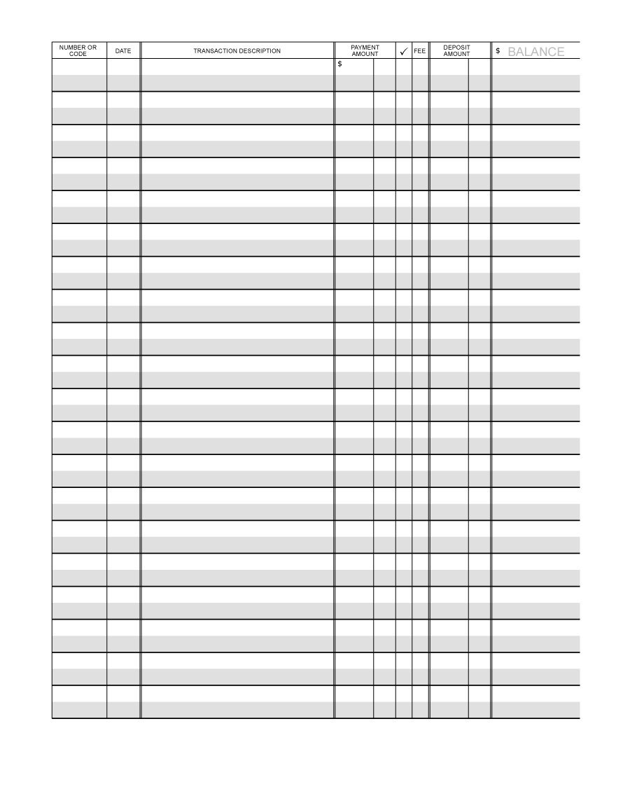 Printable Bank Register - Yeter.wpart.co