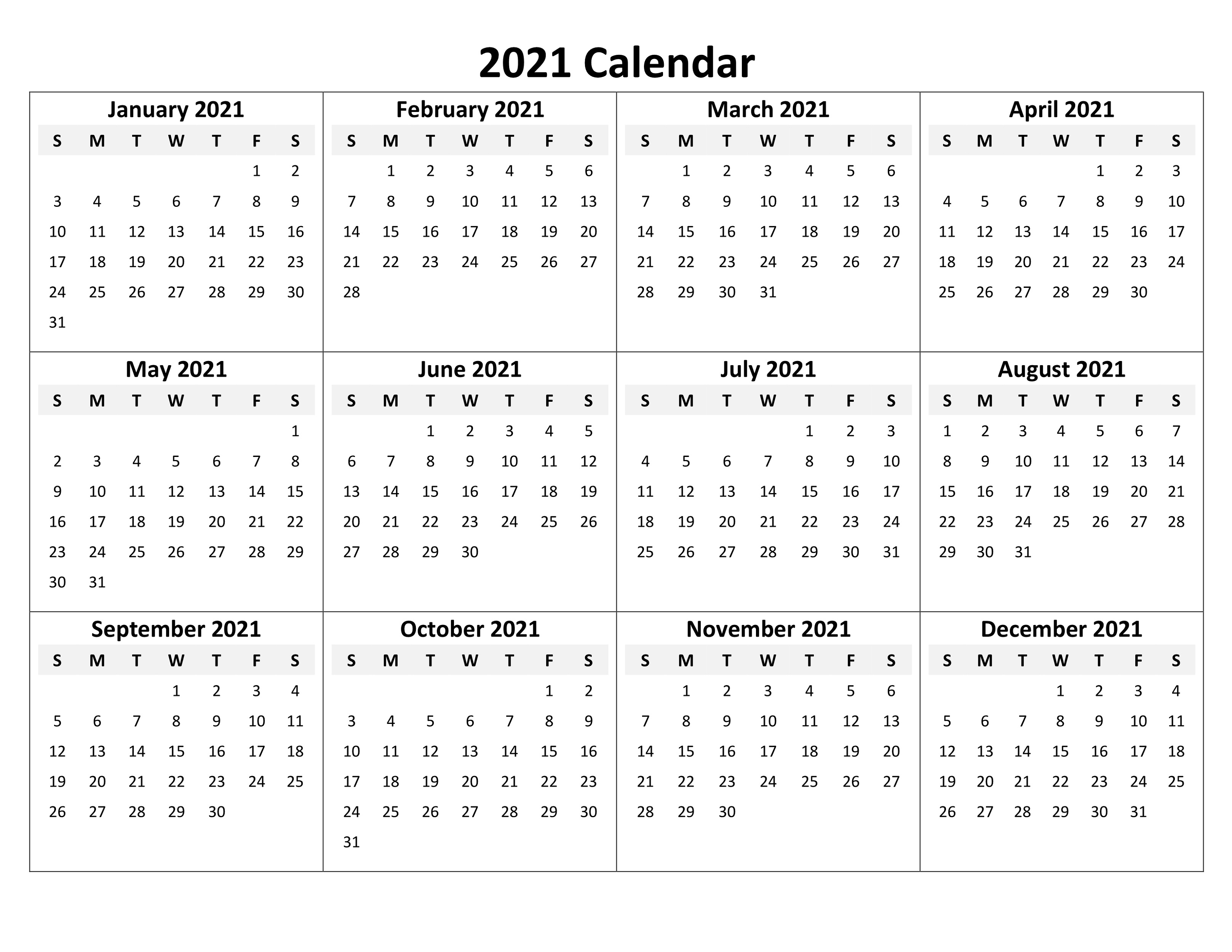 Printable Blank Calendar 2021 Yearly And Monthly | Calendar