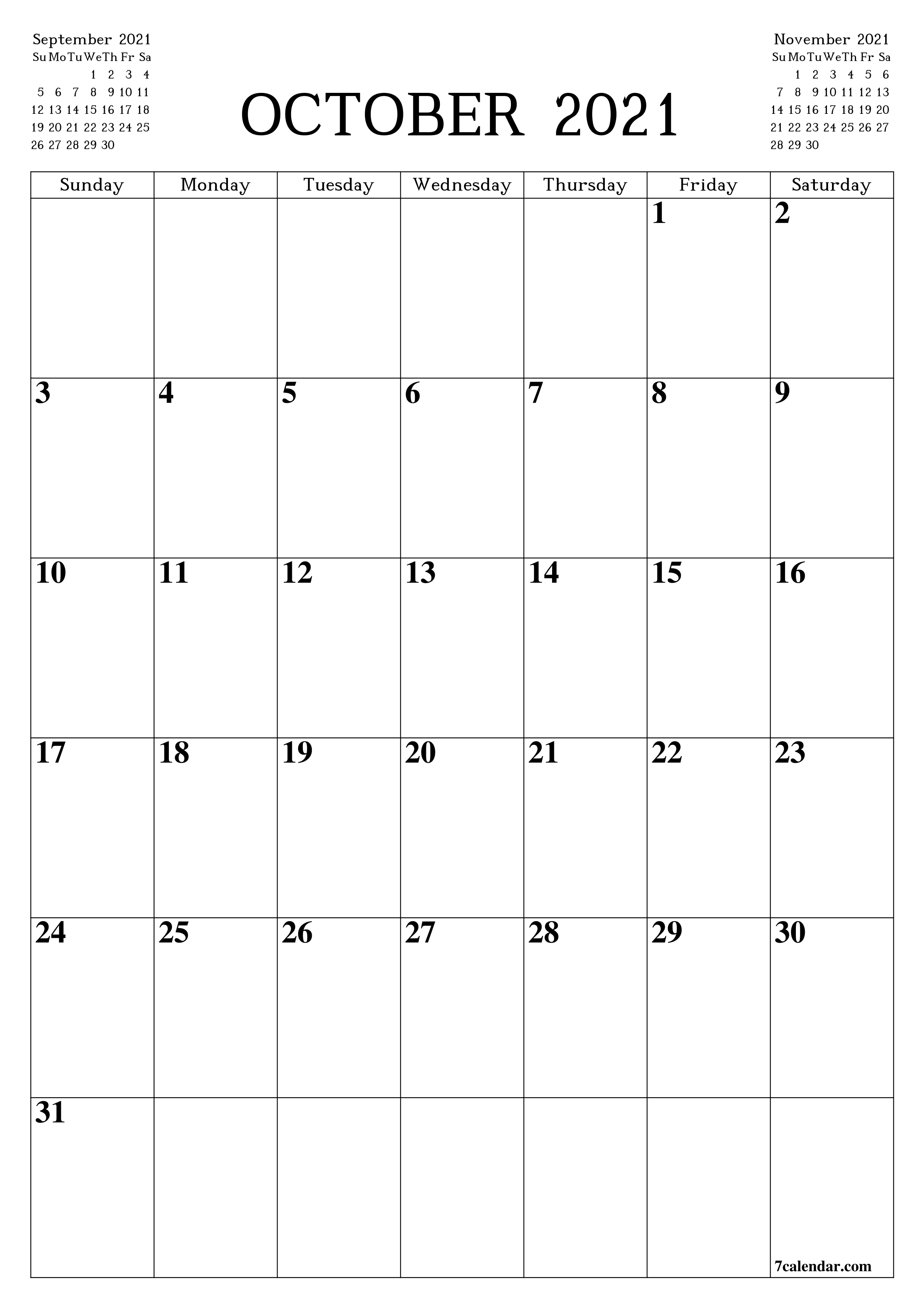 Printable Blank Calendar For October 2021 - Pdf And Png