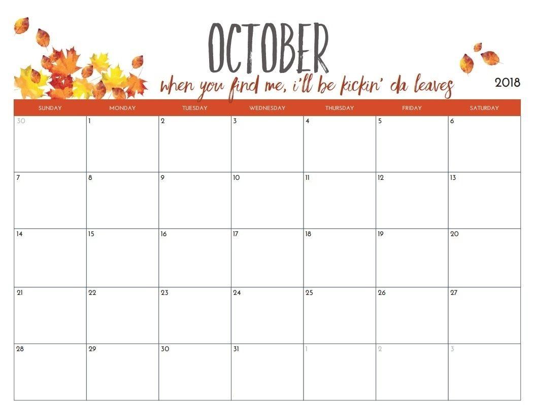 Printable Calendar 2018 October