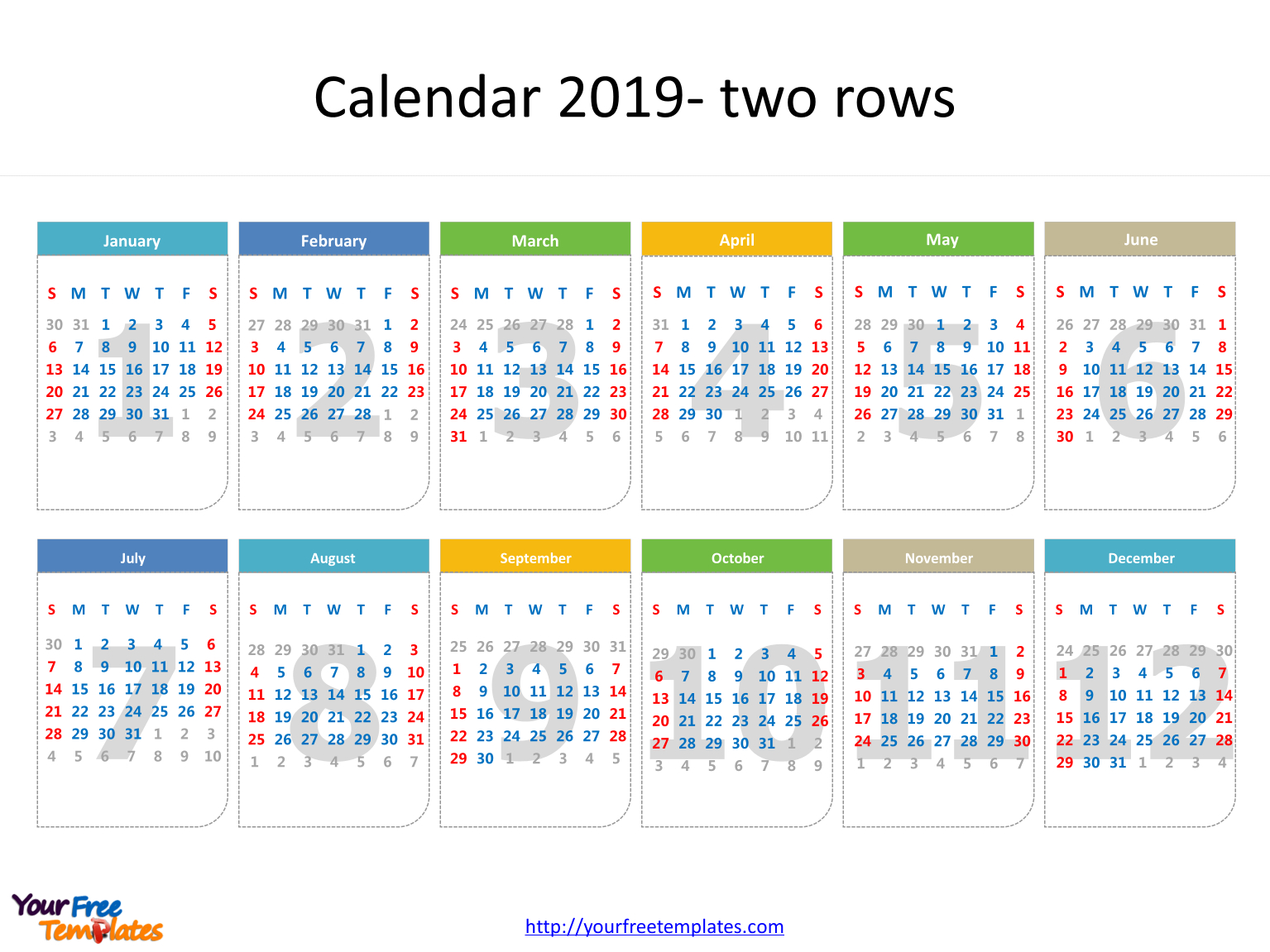 Printable Calendar 2019 Template - Free Powerpoint Templates
