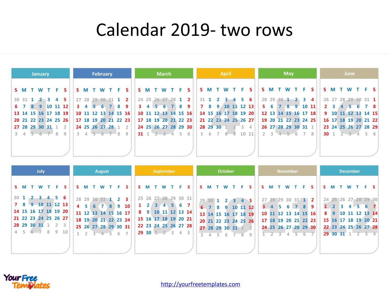 Printable Calendar 2019 Template - Free Powerpoint Templates
