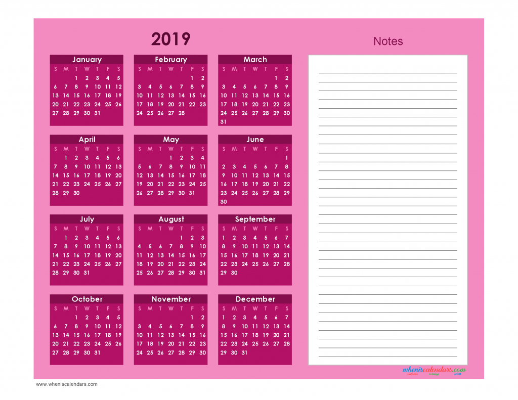 Printable Calendar 2019 With Notes Yearly Editor [ Ion