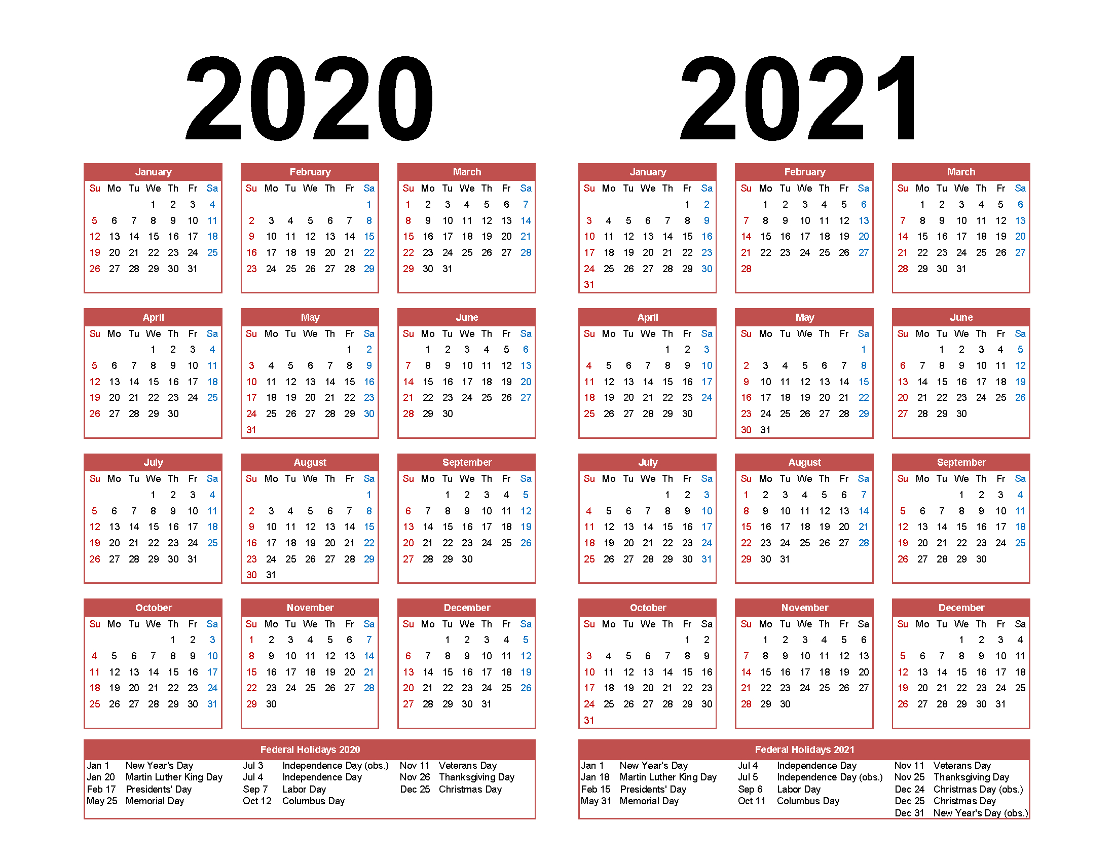 Printable Calendar 2020 2021 Two Year Per Page Free Pdf