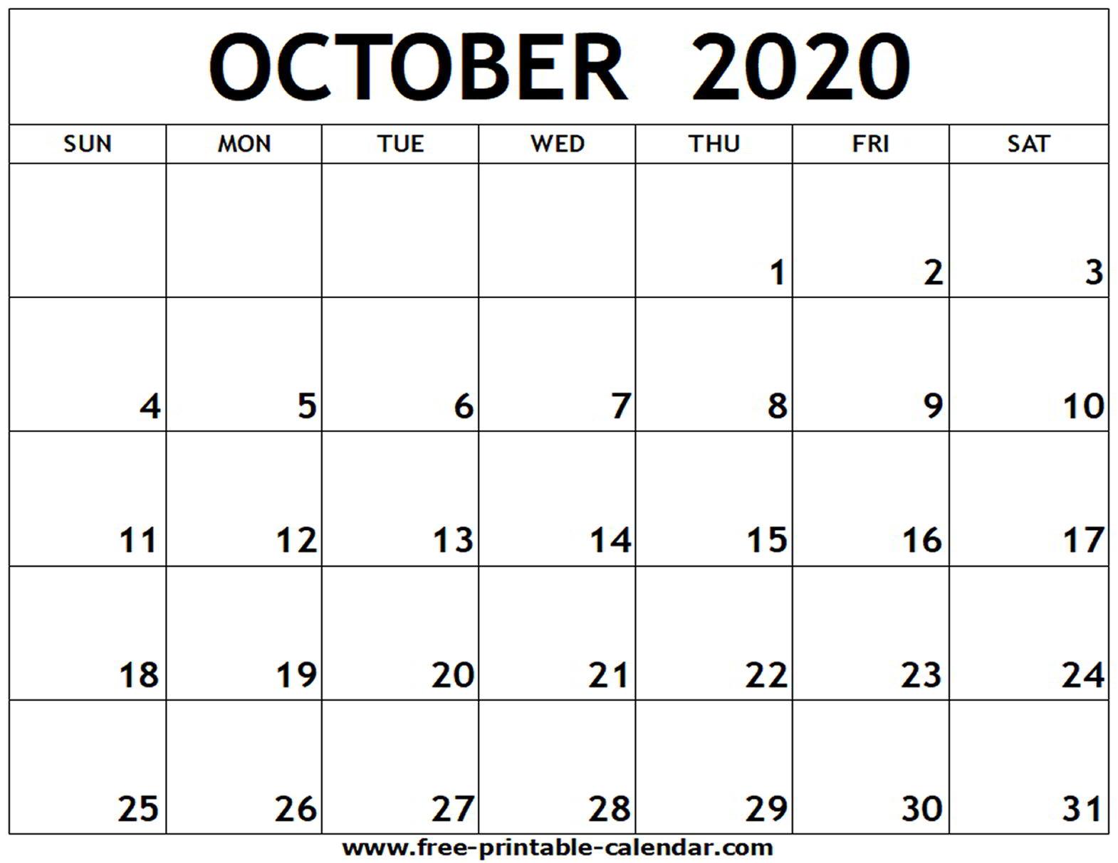 Printable Calendar 2020 October - Yeter.wpart.co