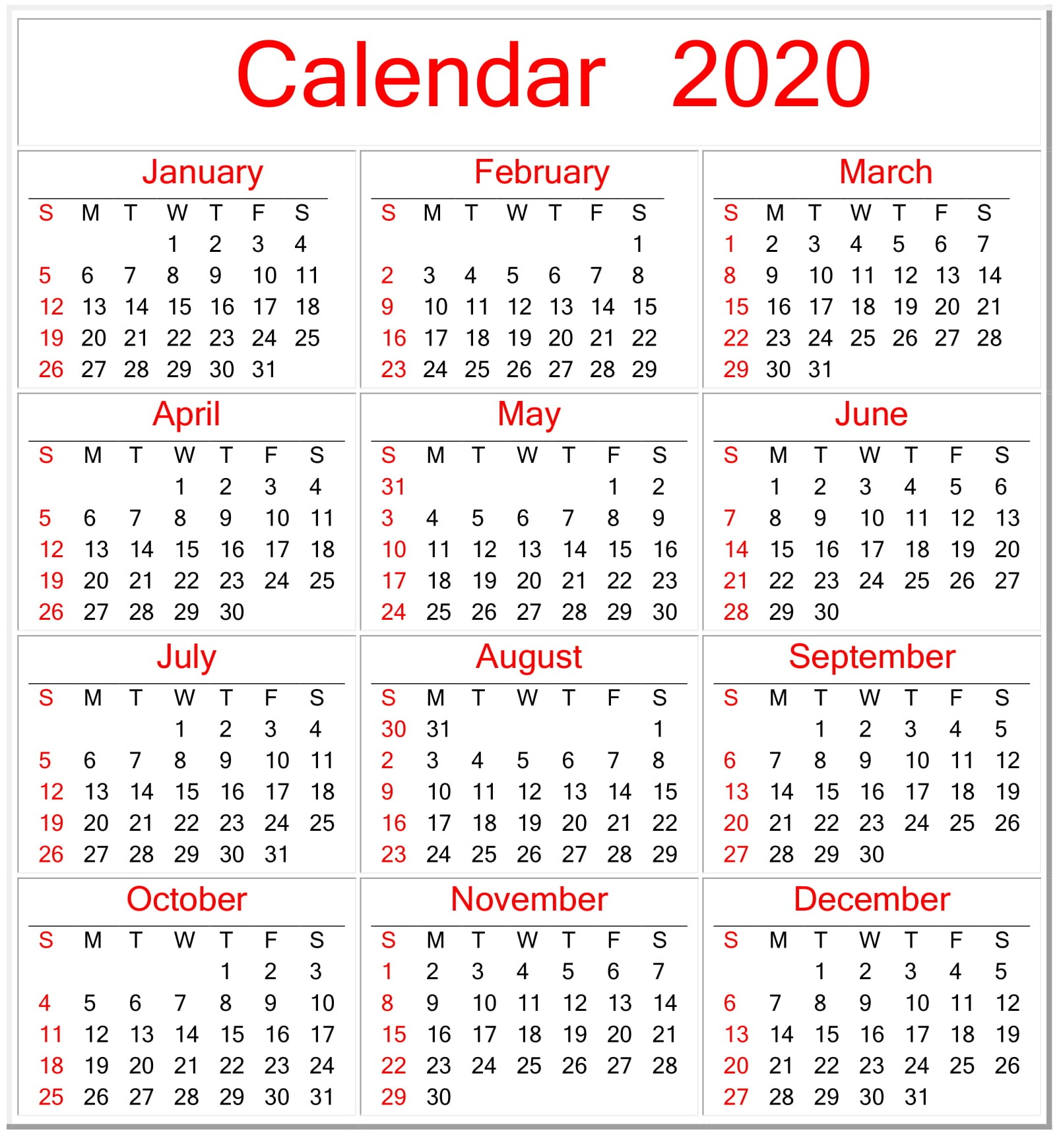 Printable Calendar 2020 Pdf Template – Free Latest Calendar