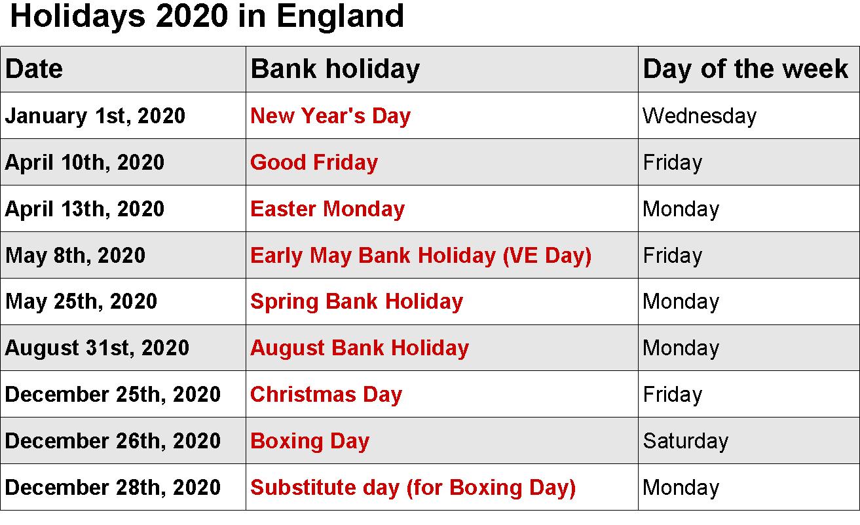 Printable Calendar 2020 Templates With England Public