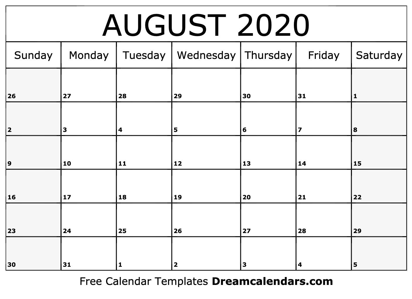 Printable Calendar Aug 2020 - Wpa.wpart.co