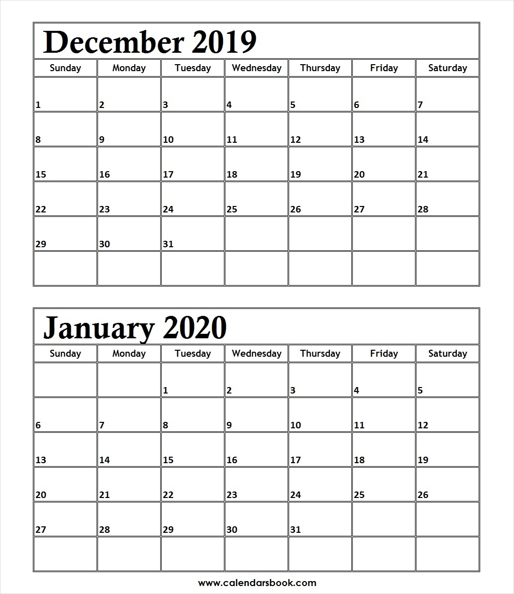 Printable Calendar December 2019 And January 2020 | Calendar