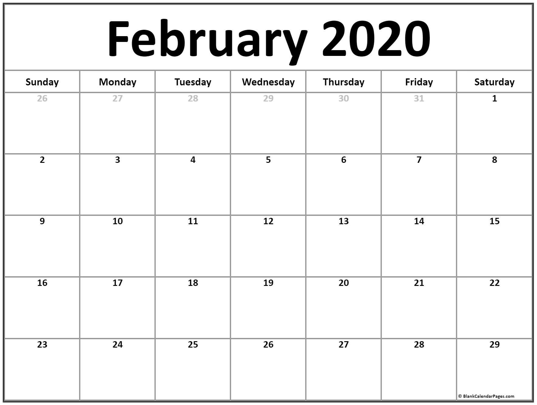 Printable Calendar For February 2020 – Welcome To Help Our