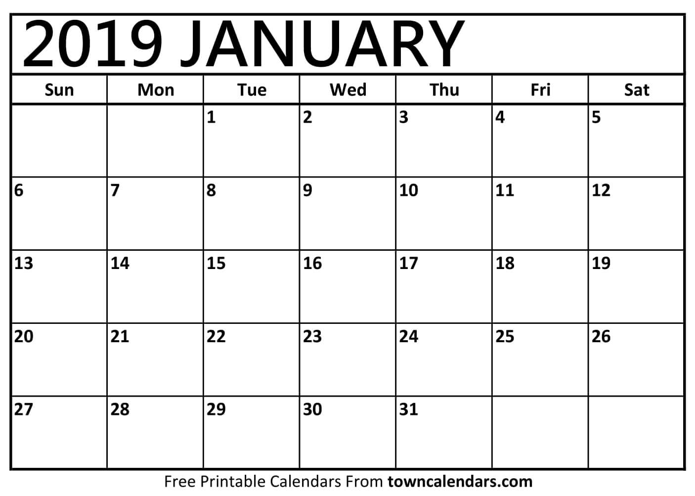 Printable Calendar January 2019 Free - Free Printable