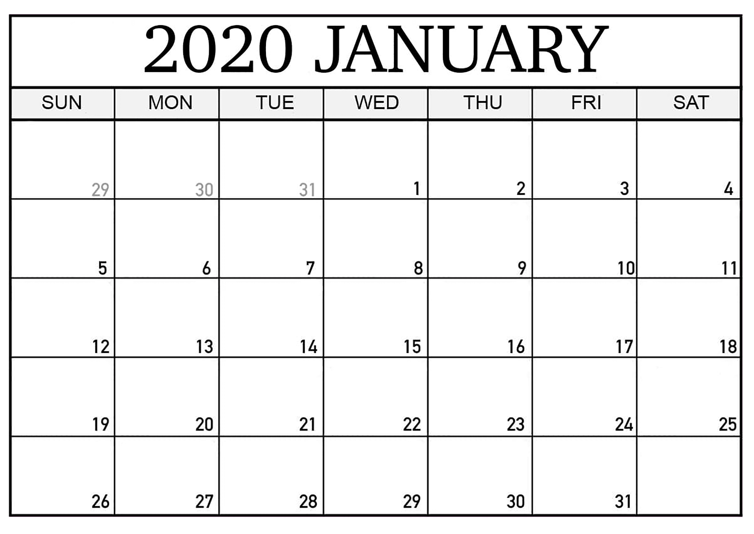 Printable Calendar January 2020 Pdf - 2019 Calendars For