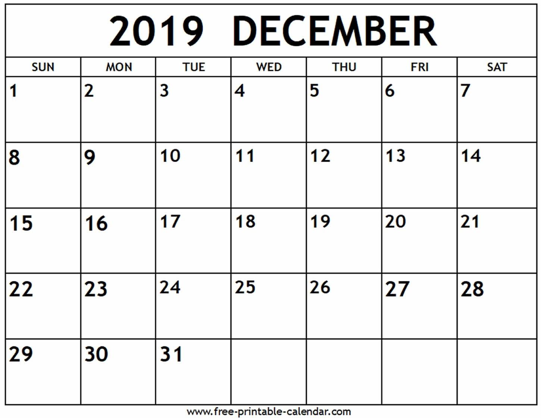 Printable Calendar Of December 2019 | Example Calendar Printable