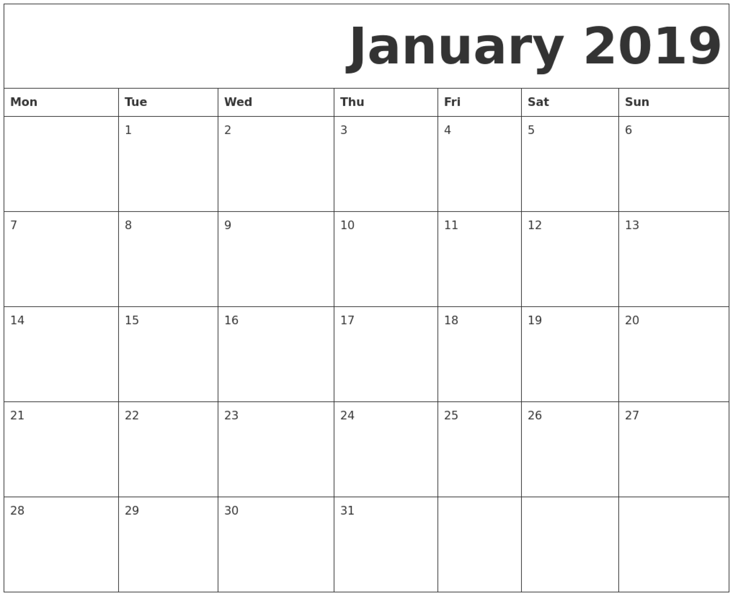 Printable Calendar Starting With Monday - Yeter.wpart.co