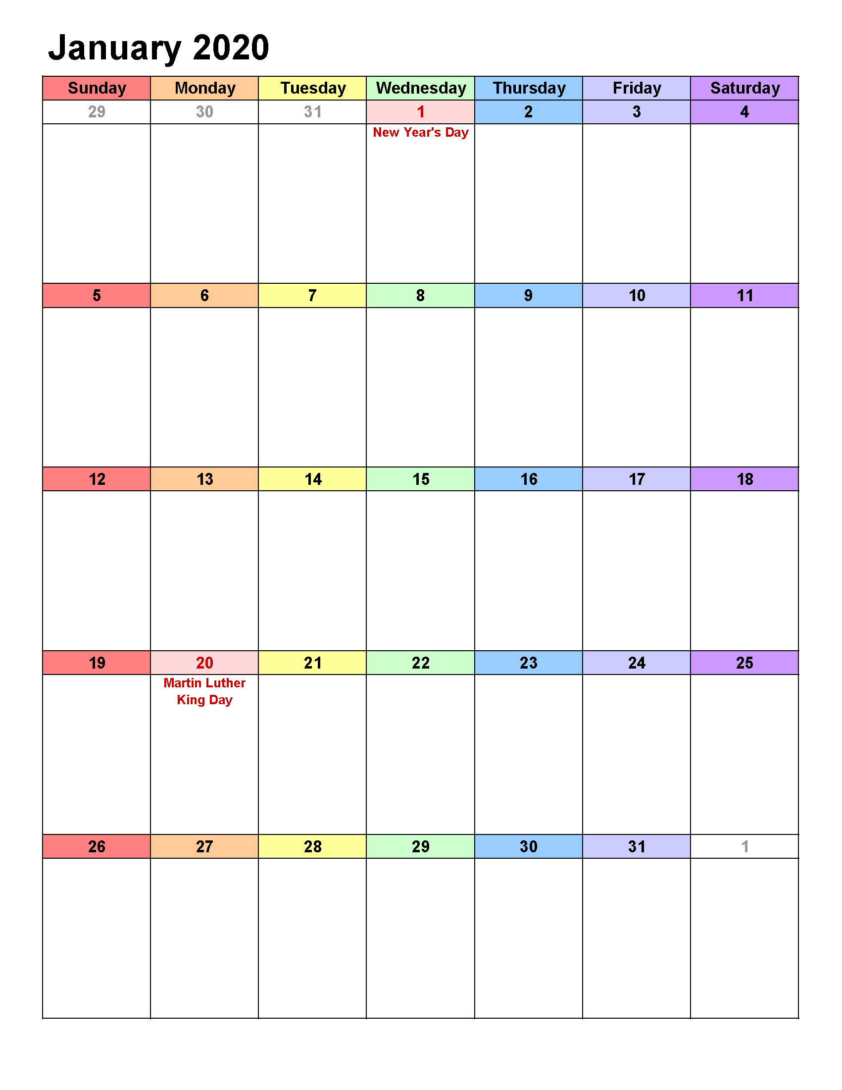 Printable Calendar Template January 2020 Calendar Portrait