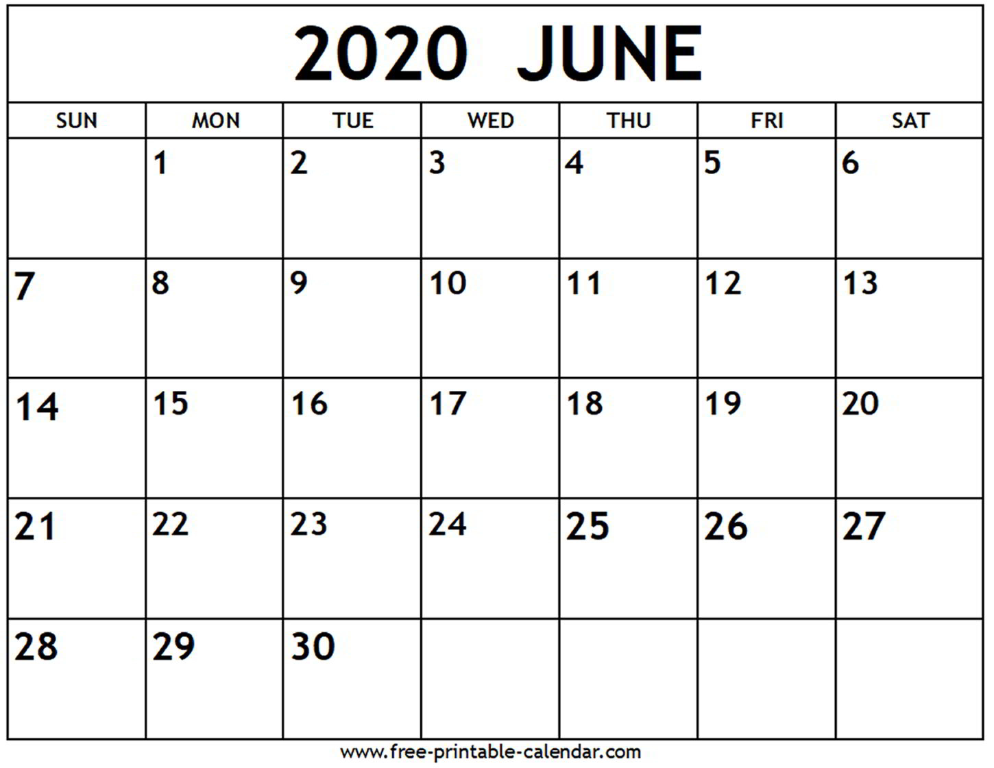 Printable Calendars June 2020 - Wpa.wpart.co