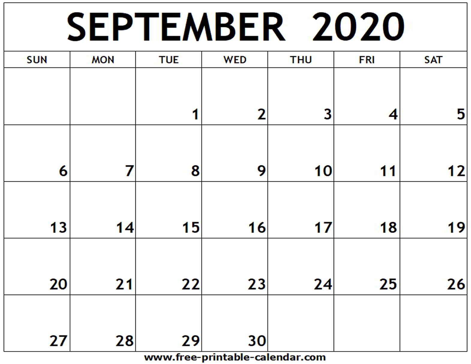Printable Calendars September 2020 - Wpa.wpart.co